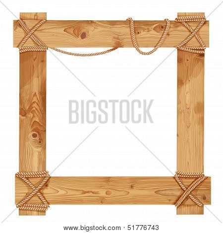 Wooden frame fastened together with ropes