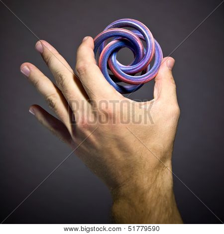 Extraordinary Geometric Solid Object - Toroidal Knot As Example Of Modern Colorful 3D Printing