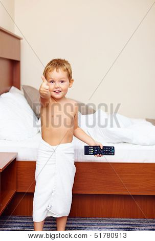 Happy Kid Showing Thumb Up In Hotel Room After Bathing