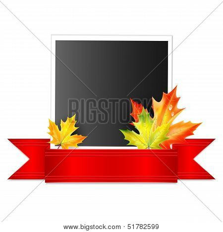 Photo With A Red Ribbon And Autumn Maple Leaves Isolated On White Background.vector