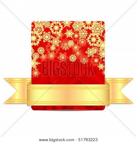 Christmas Greeting Card With Gold Ribbon Isolated On White Background.christmas Background.golden Sn