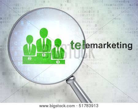 Advertising concept: Business Team and Telemarketing with optica