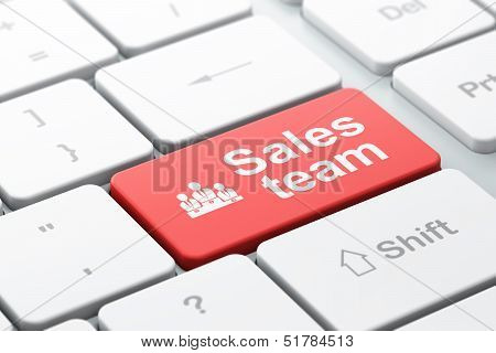 Marketing concept: Business Team and Sales Team on computer keyb