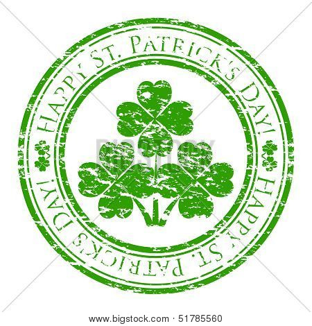Vector Illustrator Of A Grunge Rubber Stamp With Four-leaves Clover And Text (happy St. Patrick's Da