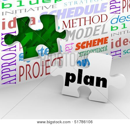 The word Plan on a puzzle piece fills in a hole in a wall full of words such as strategy, idea, initiative, project, sheme, method, model and schedule to help you achieve a goal