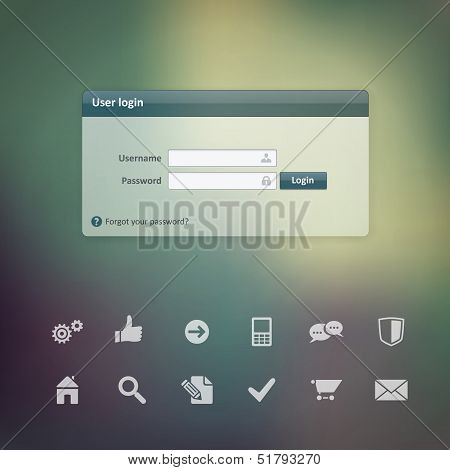 Vector Login Form Ui Element Width Useful Web Icons