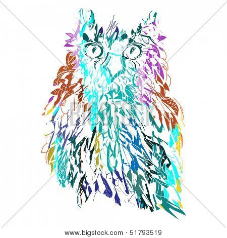 Cute Owl, symbol of Halloween, vector illustration. Illustration for t-shirt.