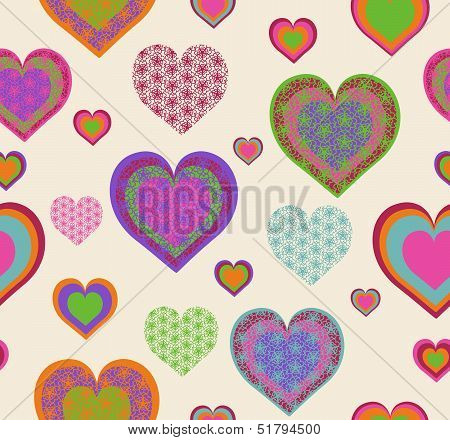 Vector Illustration Of A Seamless Heart Pattern. Valentine's Day Theme