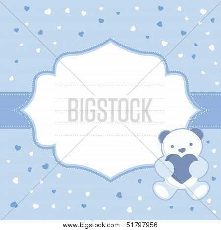Blue greeting card with teddy bear for baby boy. Baby shower. Vector illustration