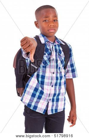 African American School Boy Making Thumbs Down - Black People
