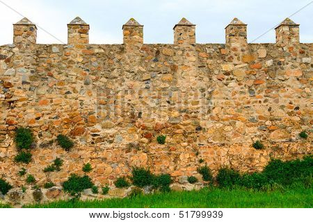 Old wall of the Santa Maria de Poblet cloister, Spain