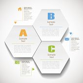 stock photo of hexagon pattern  - vector abstract 3d hexagonal paper infographic elements - JPG