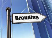 Advertising concept: Branding on Business Building background poster