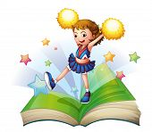stock photo of storybook  - Illustration of a green storybook with a cheerdancer on a white background - JPG