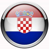 Croatia Flag Gel Metal Button