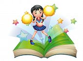 stock photo of storybook  - Illustration of a storybook with a cheerdancer dancing on a white background  - JPG