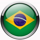 Brazil Flag Gel Metal Button