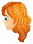Illustration of a sideview of a girl's face on a white background