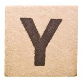 Block with Letter Y isolated on white background