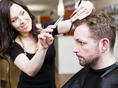 stock photo of electric trimmer  - Man at the Hair salon situation - JPG