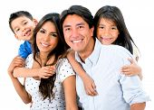 image of toothless smile  - Happy family portrait smiling together  - JPG