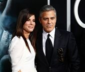 NEW YORK-OCT 1: Actors Sandra Bullock and George Clooney attend the 'Gravity' premiere at AMC Lincol