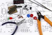stock photo of pliers  - Electronics components and circuit diagram - JPG