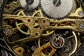 picture of wind up clock  - Watch mechanism very close up  - JPG