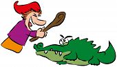 image of truncheon  - Punch hits crocodile with a stick - JPG