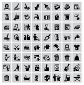 stock photo of garbage bin  - vector black cleaning icons set on gray - JPG
