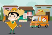 foto of meals wheels  - Vector cartoon of a Mexican chef in chef uniform and sombrero on roller skates delivering food with truck - JPG