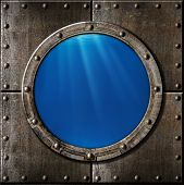 stock photo of ironclad  - rusty metal porthole underwater - JPG