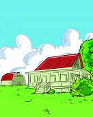 pic of farmhouse  - Illustration of farmhouse in a green with a barn - JPG
