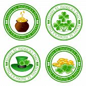 stock photo of leprechaun hat  - vector illustration of a set of green stamps with four leaf clover shape pot gold coins leprechaun hat and the text Happy St - JPG