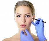 picture of collagen  - Beautiful woman ready for cosmetic surgery - JPG