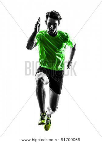 one caucasian man young sprinter runner running in silhouette studio on white background