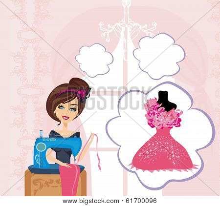 Girl With Sewing Machine,  Dreams Of A Beautiful Dress