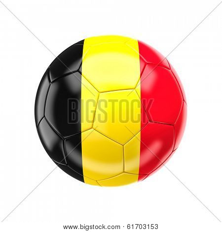 3d soccer ball with belgium flag