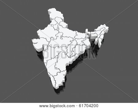 Map of India. 3d