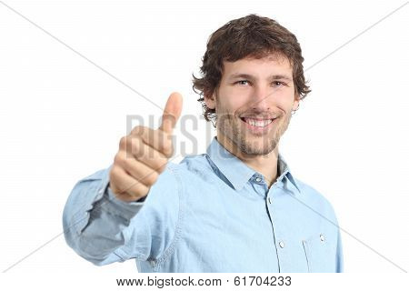 Adult Happy Man Agreement Gesturing Thumbs Up