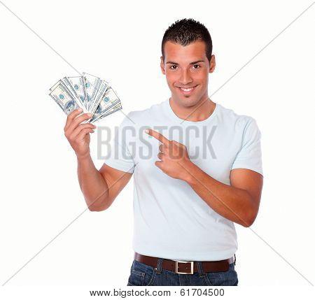 Cute Latin Man Pointing At His Cash