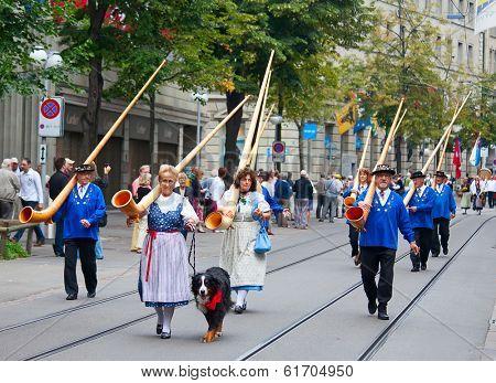 ZURICH - AUGUST 1: Swiss National Day parade on August 1, 2009 in Zurich, Switzerland. Representatives of canton Appenzeller in a historical costumes.