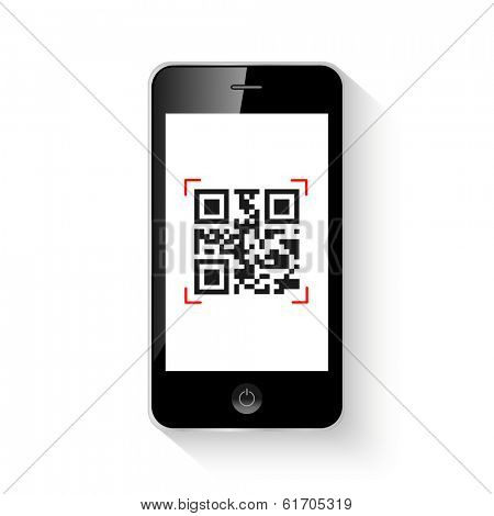 Mobile smartphone qr code illustration. (EPS vector version also available in portfolio)
