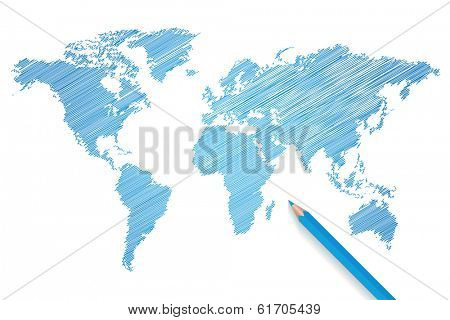 Colored pencil world map. (EPS vector version also available in portfolio)