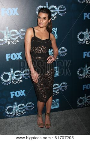 LOS ANGELES - MAR 18:  Lea Michele at the GLEE 100th Episode Party at Chateau Marmont on March 18, 2014 in West Hollywood, CA