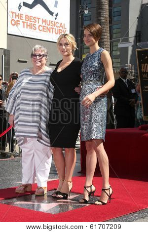 LOS ANGELES - MAR 17:  Kathy Bates, Kate Winslet, Shailene Woodley at the Kate Winslete Hollywood Walk of Fame Star Ceremony at W Hotel on March 17, 2014 in Los Angeles, CA