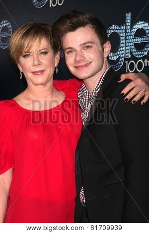 LOS ANGELES - MAR 18:  Romy Rosemont, Chris Colfer at the GLEE 100th Episode Party at Chateau Marmont on March 18, 2014 in West Hollywood, CA