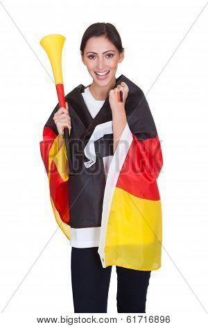 Happy Female German Supporter With Vuvuzela