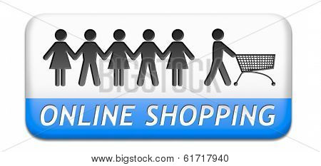 online shopping order in internet store or web shop buying online ecommerce webshop button icon or sign
