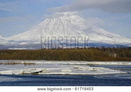 Koryaksky Volcano Of Kamchatka Peninsula And River Avacha.